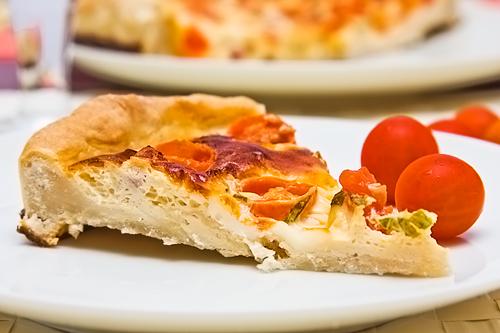 Quiche de queso fresco, jamón y cherrys